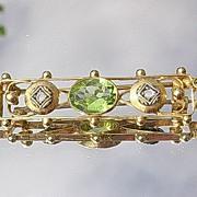 14kt Victorian Peridot/Diamond Bar Pin/Brooch