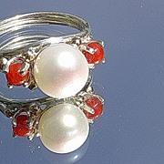 Silver/9kt Gold Freshwater Pearl/Coral Artisan Ladies Ring
