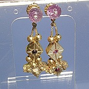 Silver/Vermeil Glamorous Multi Gemstone Slide Dangle Earrings