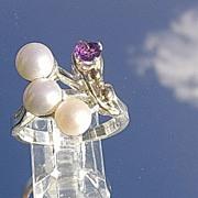 Silver/10kt Gold Artisan Multi Pearl/Amethyst Ladies Ring