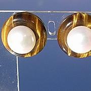 14kt Artisan Tiger-Eye/Fresh Water Pearl Stud Earrings