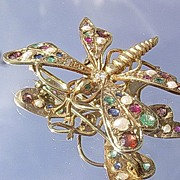 14kt Vintage Vibrant Gemstone Butterfly Brooch