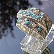 Sterling Silver Artisan Triple Turquoise/Seed Pearl Stacking Ladies  Rings