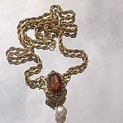14kt Vintage Madera Topaz Pendant/Rope Chain