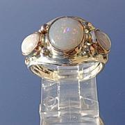 Silver/9kt Multi Opal Midnight Blue/Fiery Ladies Ring