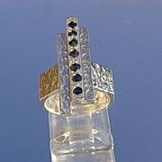 Sterling Multi Sapphire Geometric Design Unisex Ring