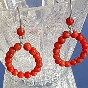SALE Sterling Multi Coral Hoop Earrings
