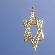14kt  Vintage Star of David Multi Textured Pendant