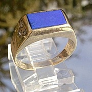 10kt Vintage Lapis/Lazuli and Diamond Unisex Ring
