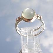 Sterling/9kt Gold Light Grey Spherical Moonstone Ladies Ring
