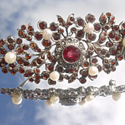 Sterling Vintage Multi Garnet/Seed Pearl Floral Brooch