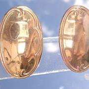 9kt Pink Gold Flat Oval Stud Earrings