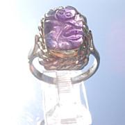 Sterling/9kt Pink Gold Carved Amethyst Frog Unisex Ring