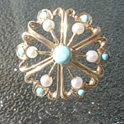14kt Vintage Multi Turquoise/Culture Pearl Brooch and Pendant