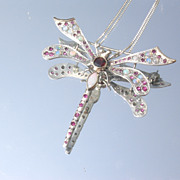 Sterling/9kt Spectacular Multi Gemstone Dragonfly Brooch/Pendant with Chain