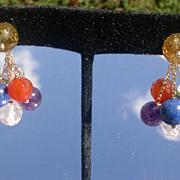 SALE 14kt Multi Gem Cluster Dangle Earrings