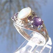 Sterling/9kt Pink Gold Opal/Amethyst Ladies Ring