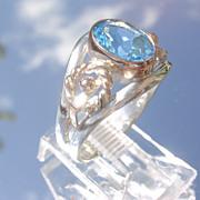 Sterling/9kt Rose Gold Sky blue Topaz Ladies Ring