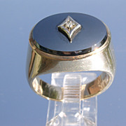 10kt Vintage Gentlemens Hematite/Diamond Ring