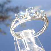 Sterling/9kt Pink Gold Crystal Clear Multi Aquamarine Ladies Ring