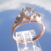 9kt Rose Gold Aquamarine/Sapphire Ladies Ring