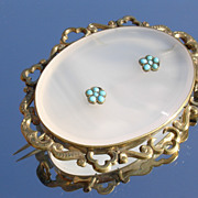 Large Gold Filled Victorian Agate/Turquoise Brooch