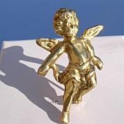 Vintage Sterling/Gold Plated Cherub Angel Brooch