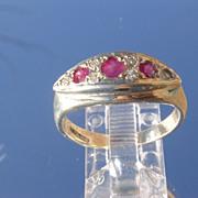 Sterling Rose Red Rubies/Multi Diamond Ladies Ring