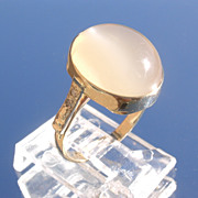 14kt Oval Grey Moonstone/Multi Diamond Ladies Ring