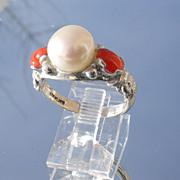 Sterling & Freshwater Pearl/Coral Ladies Ring