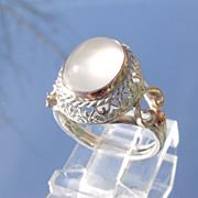 Sterling/9kt Ornate Grey Cabochon Moonstone Ladies Ring