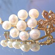 9kt Vintage Yellow Gold Freshwater Pearl/Multi Diamond Grape Brooch