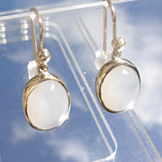 14kt Light Grey Moonstone Dangle Earrings