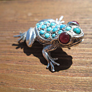 """Sterling """"Bright Eyes"""" Ruby/Multi Turquoise FROG  Brooch  Combination Pendant"""