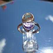 Sterling Two Halves Amethyst/Citrine Ladies Ring