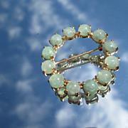 14k Vintage Green Jade Wreath Brooch
