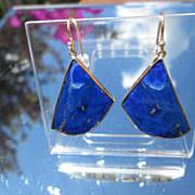 9kt Yellow Gold Fan Shape Lapis Lazuli Dangle Earring