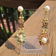 SOLD Sterling/Vermeil Finish Extraordinary Multi Gemstone Slide Dangle Earring - Red Tag Sale