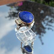 Sterling/9kt Irregular Oval Cut Lapis Lazuli Ladies Ring