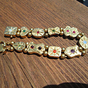 Sterling/Vermeil Finish Starburst  Multi Gemstone Slide Bracelet