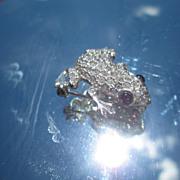 Sterling Cubic Zirconia and Almandine Garnet Frog Brooch