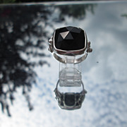 Sterling Black Onyx Faceted Square Pyramid Shape Ladies Ring