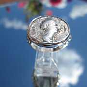 Sterling Greek or Roman Coin of Male Nobility  Side Profile Artisan Unisex Ring