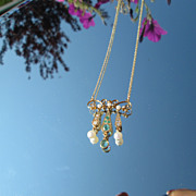 14kt Vintage Emerald/Diamond/Fresh Water and Seed Pearl Pendant Necklace