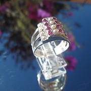 Sterling Two-Tier Multi Ruby/Seed Pearl Ladies Ring