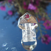 Sterling/9kt Diamond Shape Ruby Ladies Ring