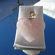 18kt Large Rose Quartz Heart Pendant