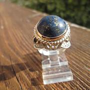 Sterling/9kt Pink Gold Statement Dome Lapis Lazuli Ladies Ring