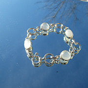 Sterling Multi Shape Moonstone Ladies Bracelet