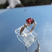 Sterling Silver Oval Almandine Garnet Ladies Ring
